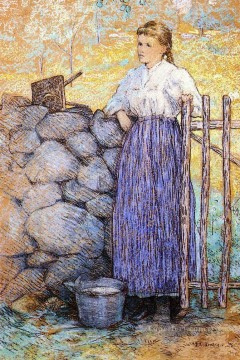 Julian Alden Weir Painting - Girl Standing by a Gate Julian Alden Weir